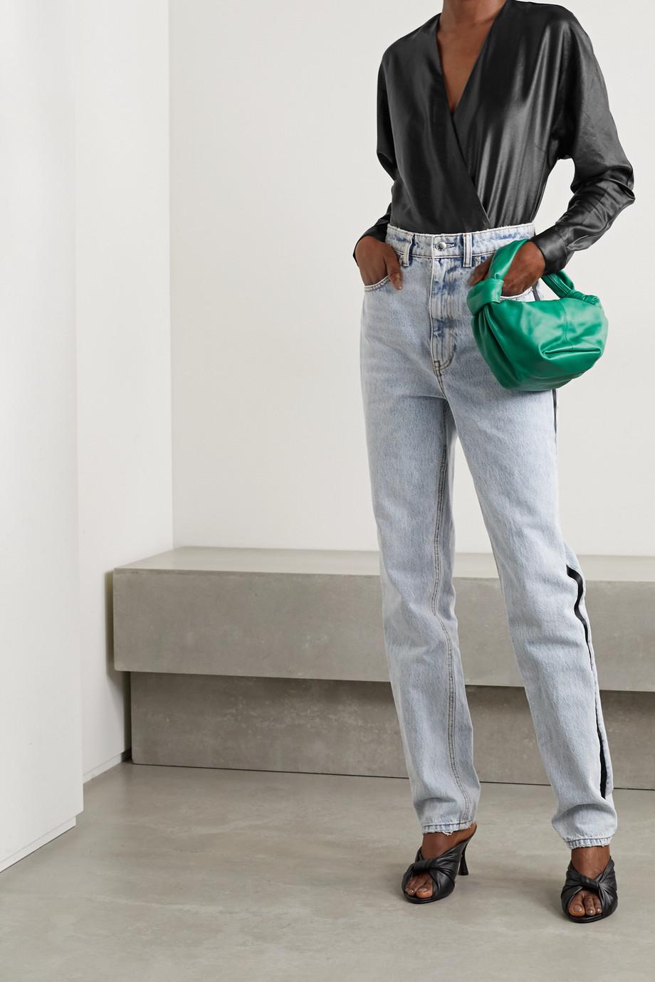 RtA Alya wrap-effect satin and stretch-jersey bodysuit
