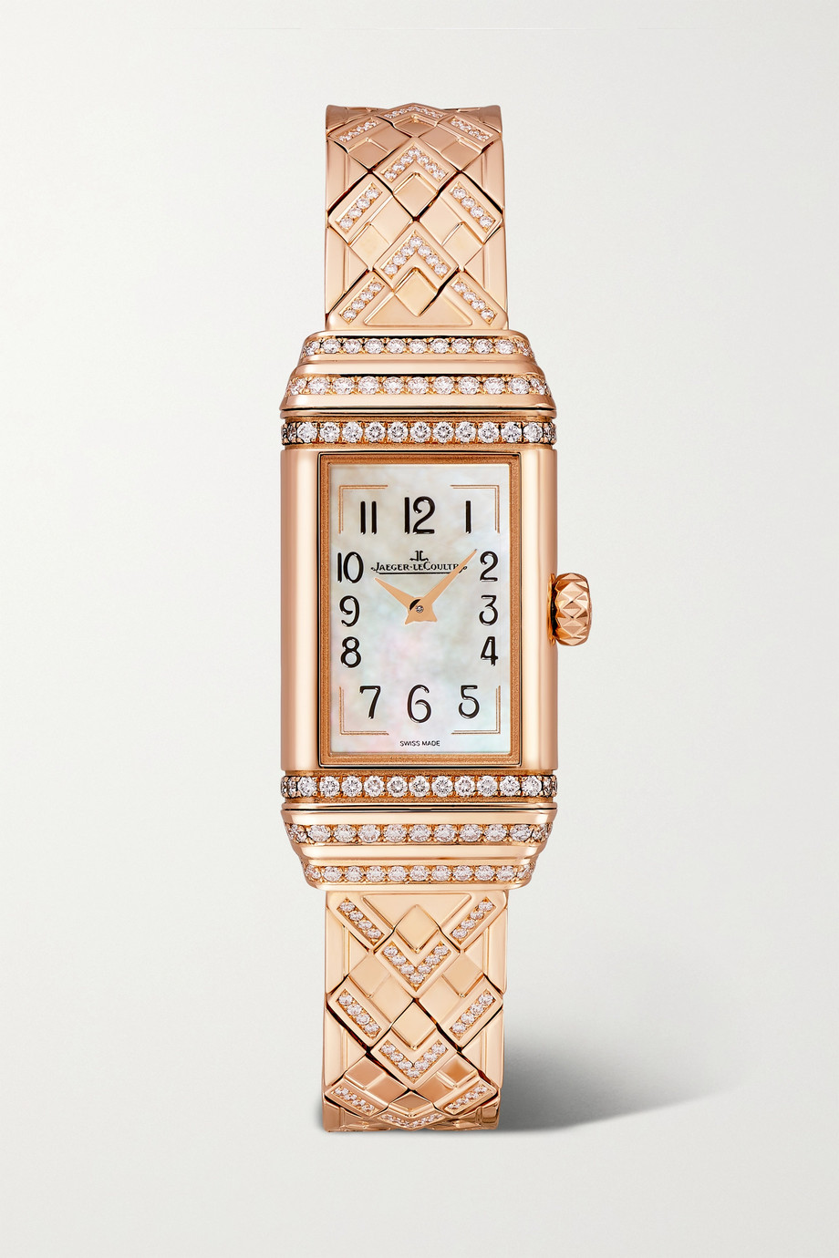 Jaeger-LeCoultre Montre à remontage manuel en or rose et diamants Reverso One Duetto 18 mm