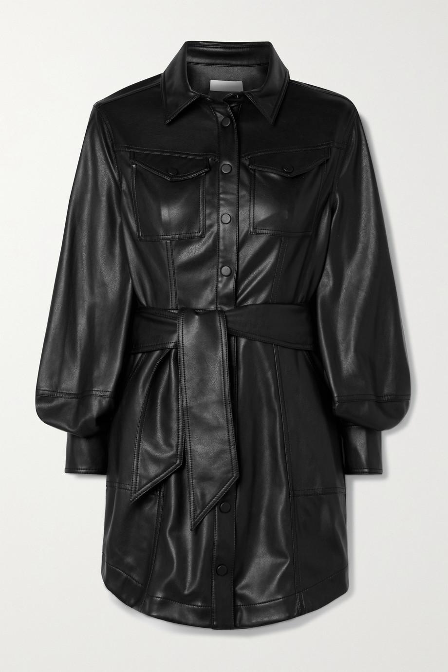 Jonathan Simkhai Eve belted vegan leather mini shirt dress