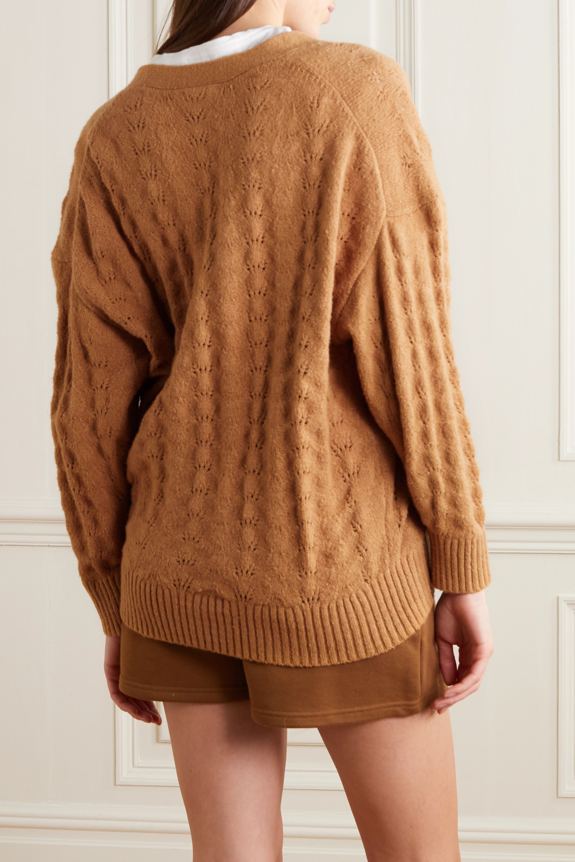 STAUD Blake pointelle-knit cotton-blend cardigan
