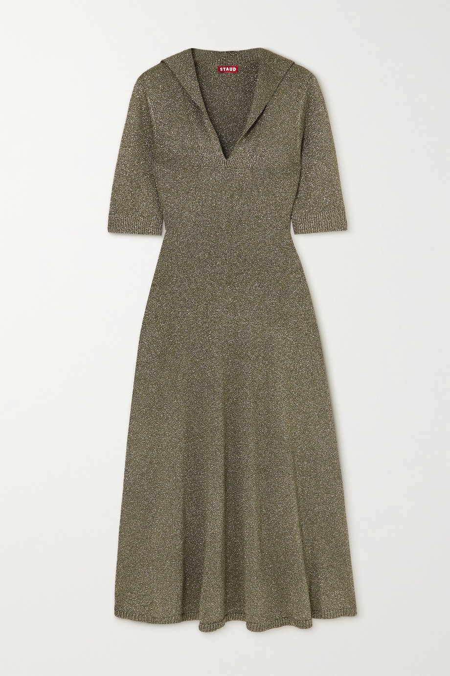 STAUD Breck metallic knitted dress