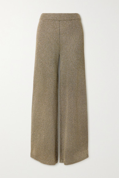 STAUD - Daisy Metallic Stretch-knit Wide-leg Pants - Army green