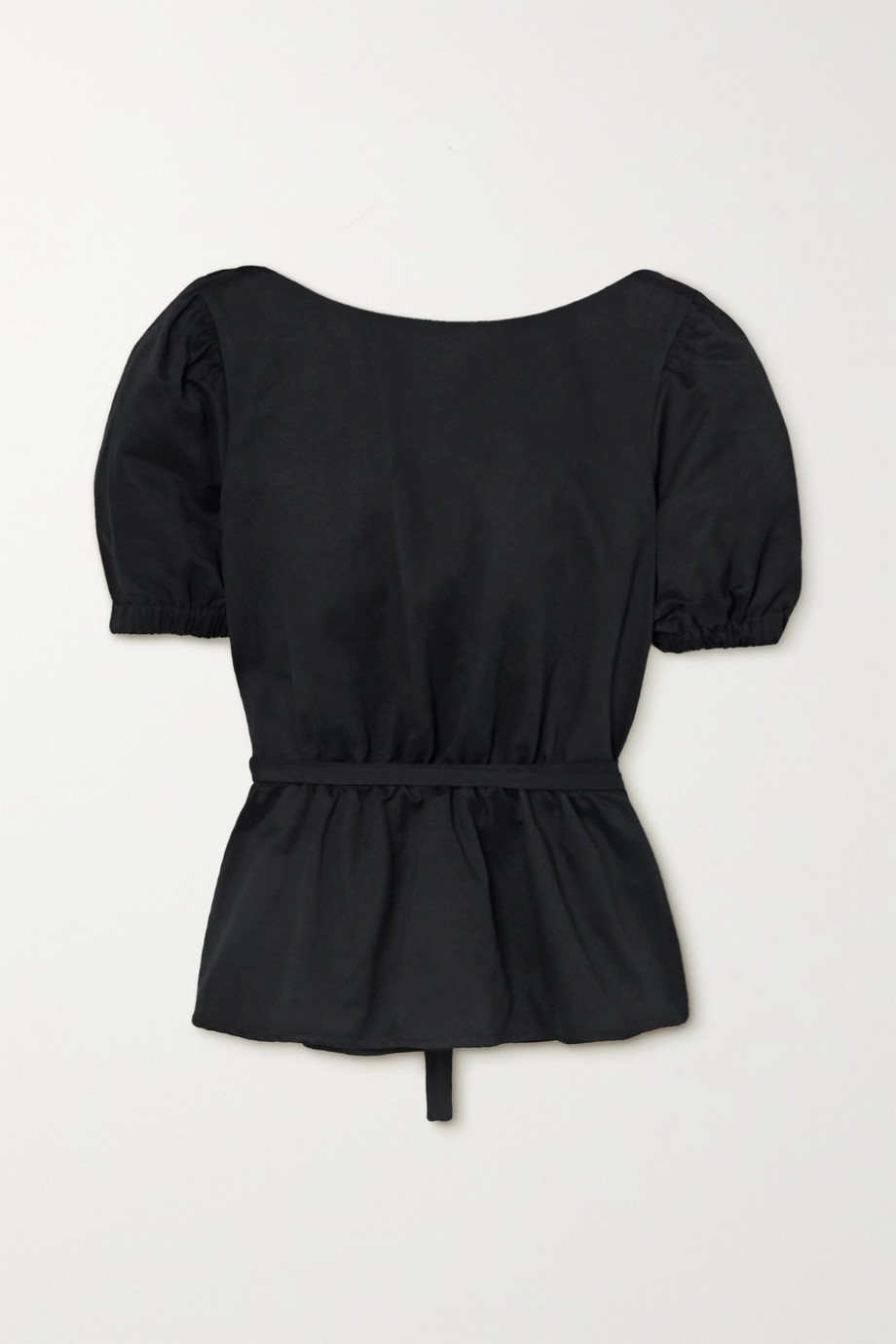 STAUD Marie open-back cotton-blend faille peplum top