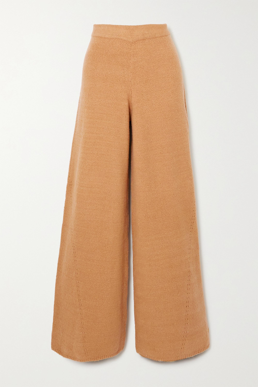 STAUD Mitch pointelle-knit cotton-blend wide-leg pants