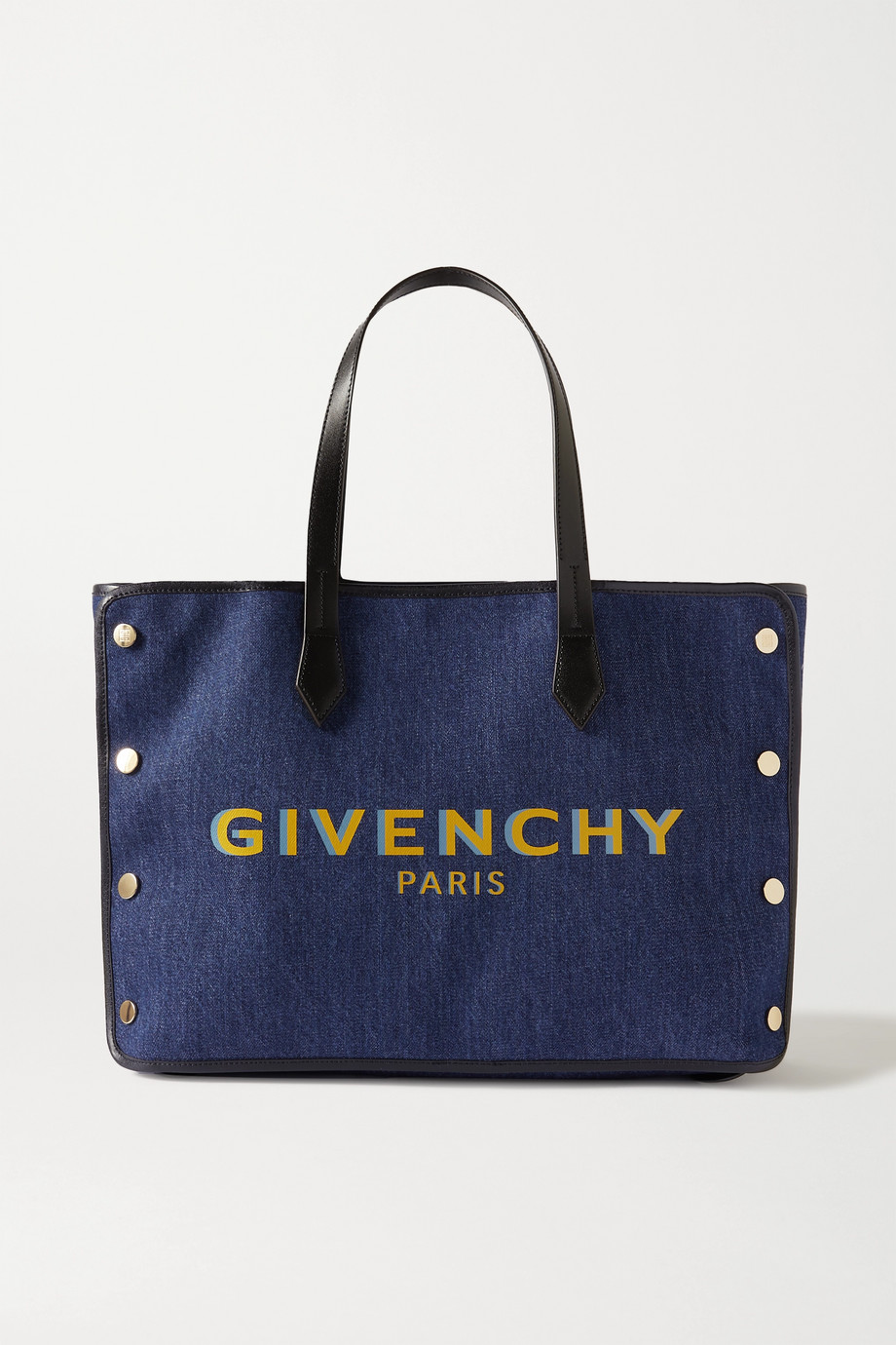 Givenchy Bond leather-trimmed printed denim tote