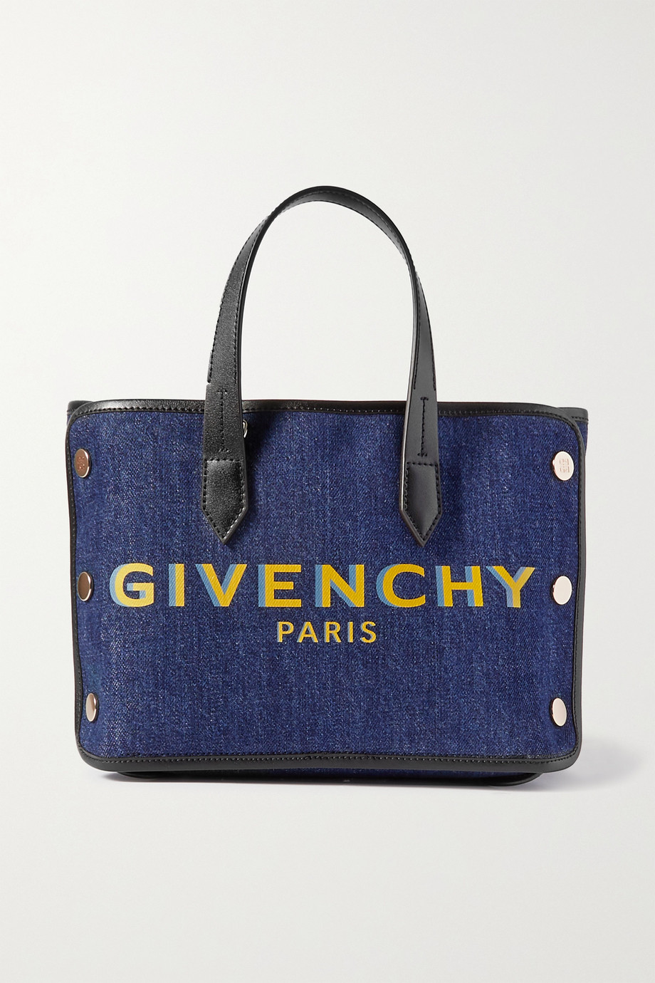 Givenchy Bond mini leather-trimmed printed denim tote