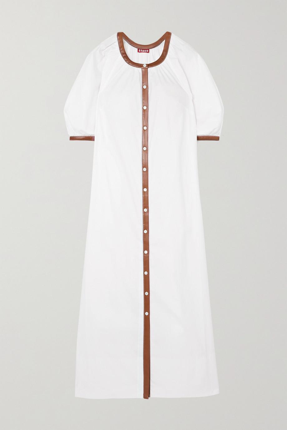 STAUD Vincent vegan leather-trimmed cotton-blend poplin dress
