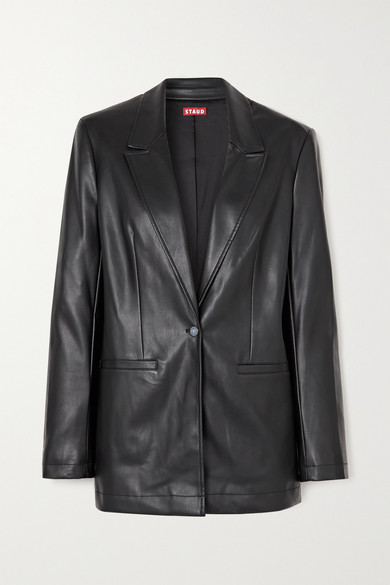 STAUD - Madden Vegan Leather Blazer - Black