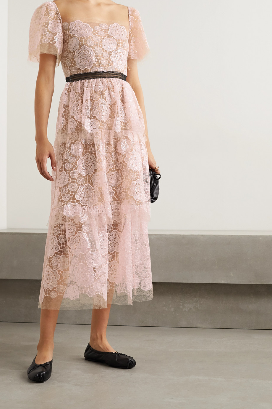 Self-Portrait Crochet-trimmed sequin-embellished corded lace midi dress