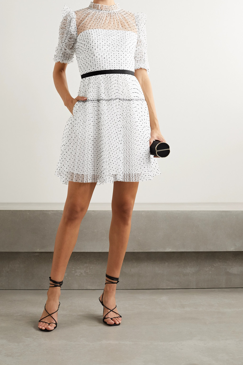 Self-Portrait Ruched pleated polka-dot flocked tulle mini dress