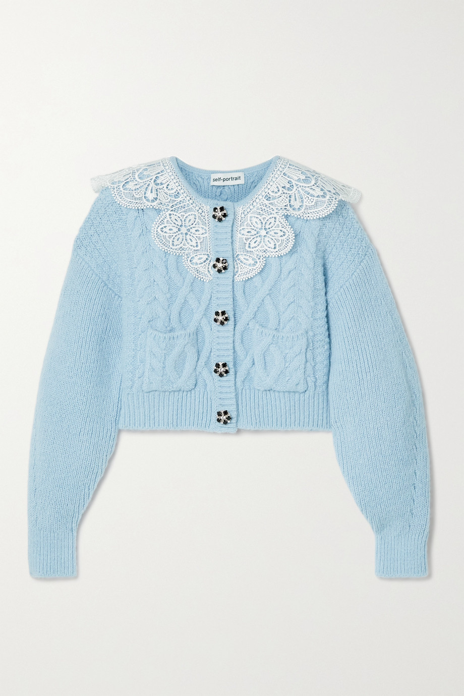 Self-Portrait Cropped lace-trimmed crystal-embellished cable-knit cardigan