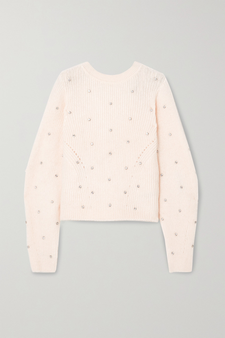 Self-Portrait Open-back crystal-embellished ribbed-knit sweater