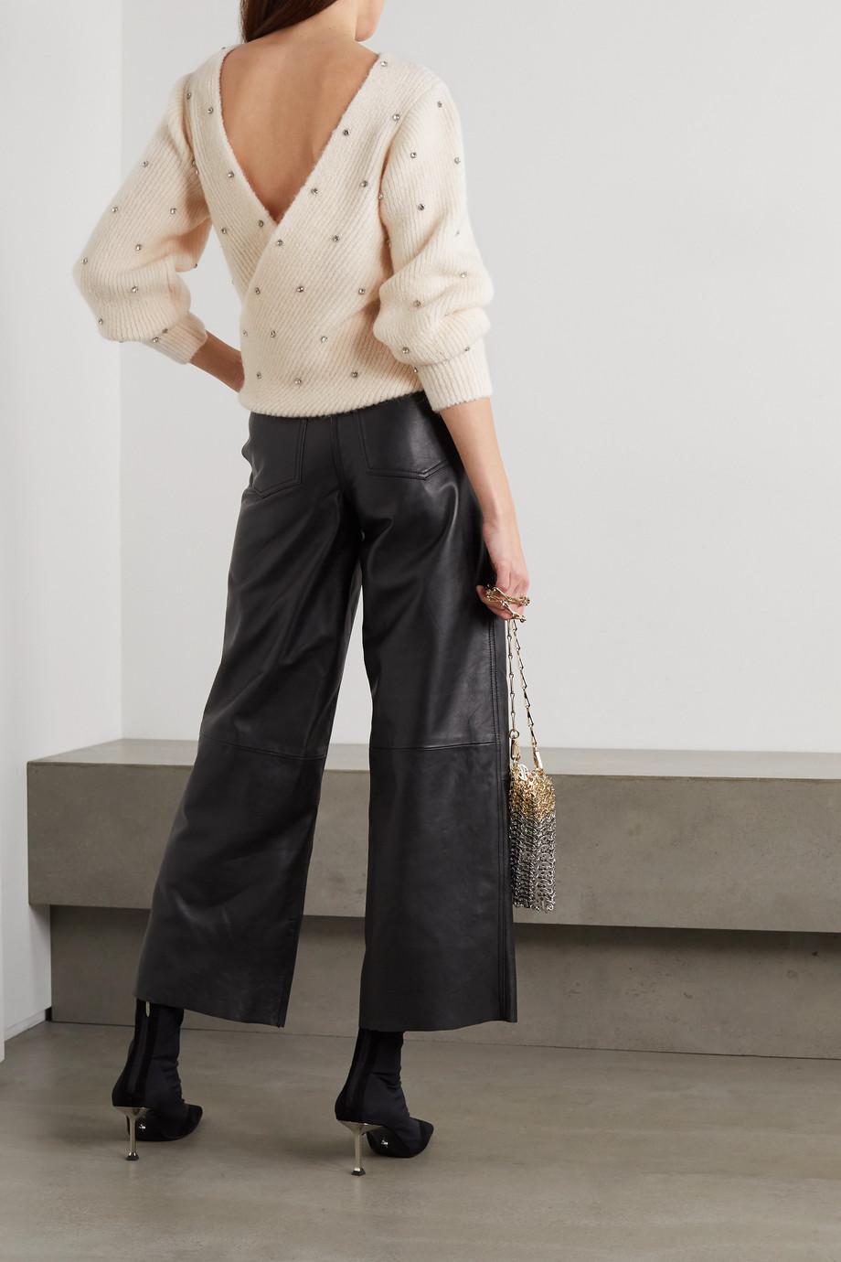 Self-Portrait Pullover aus Rippstrick mit Kristallen und Rückenausschnitt