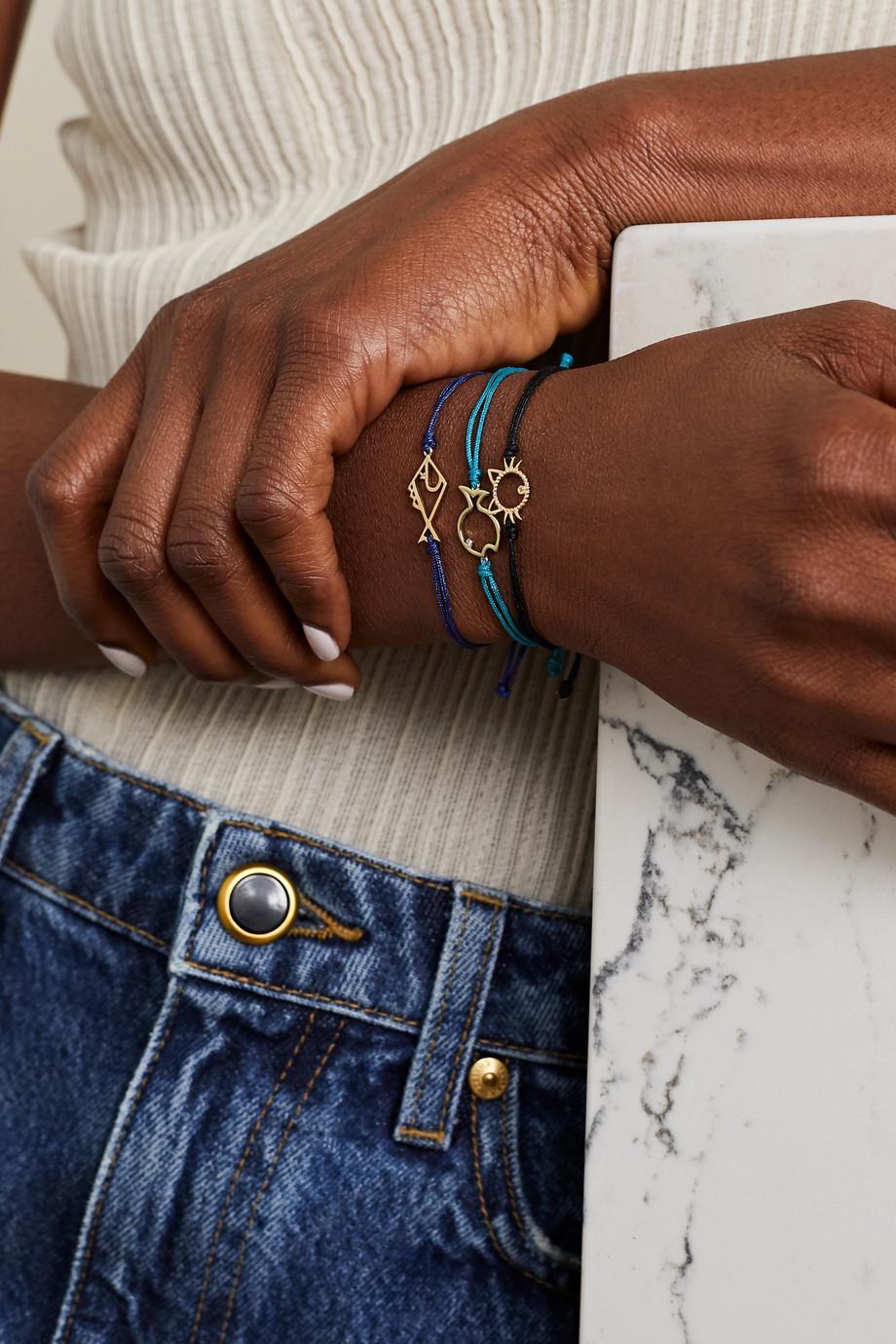Yvonne Léon Armband aus 9 Karat Gold und Kordel mit Diamanten