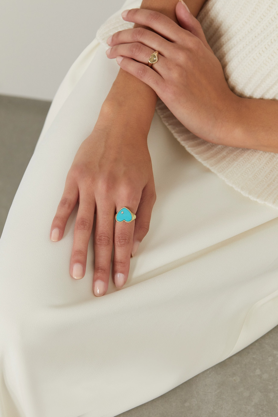 Yvonne Léon 9-karat gold, turquoise and diamond signet ring