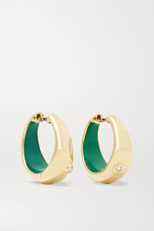 Yvonne Léon Boucles d'oreilles en or 9 carats, émail et diamants
