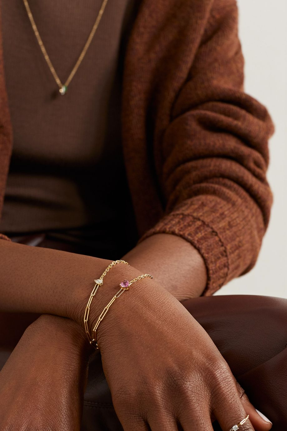 Yvonne Léon 18-karat gold tourmaline bracelet
