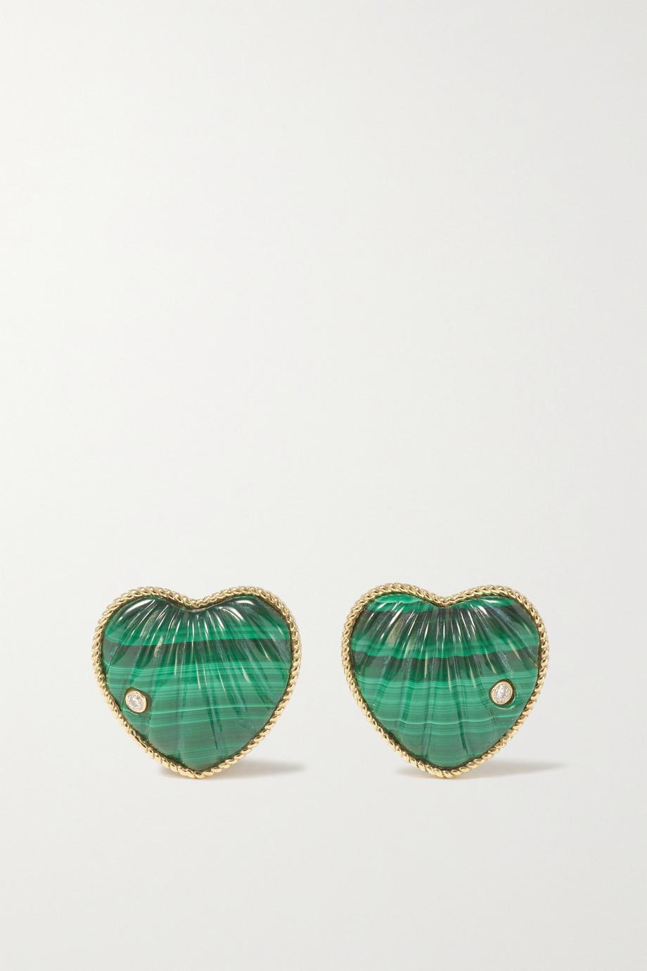 Yvonne Léon 9-karat gold, malachite and diamond earrings