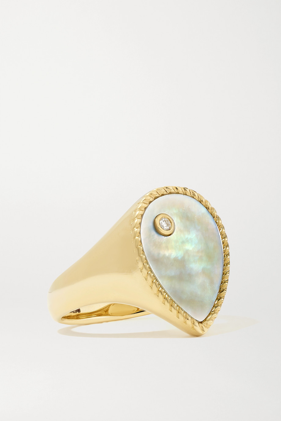 Yvonne Léon 9-karat gold mother-of-pearl and diamond signet ring