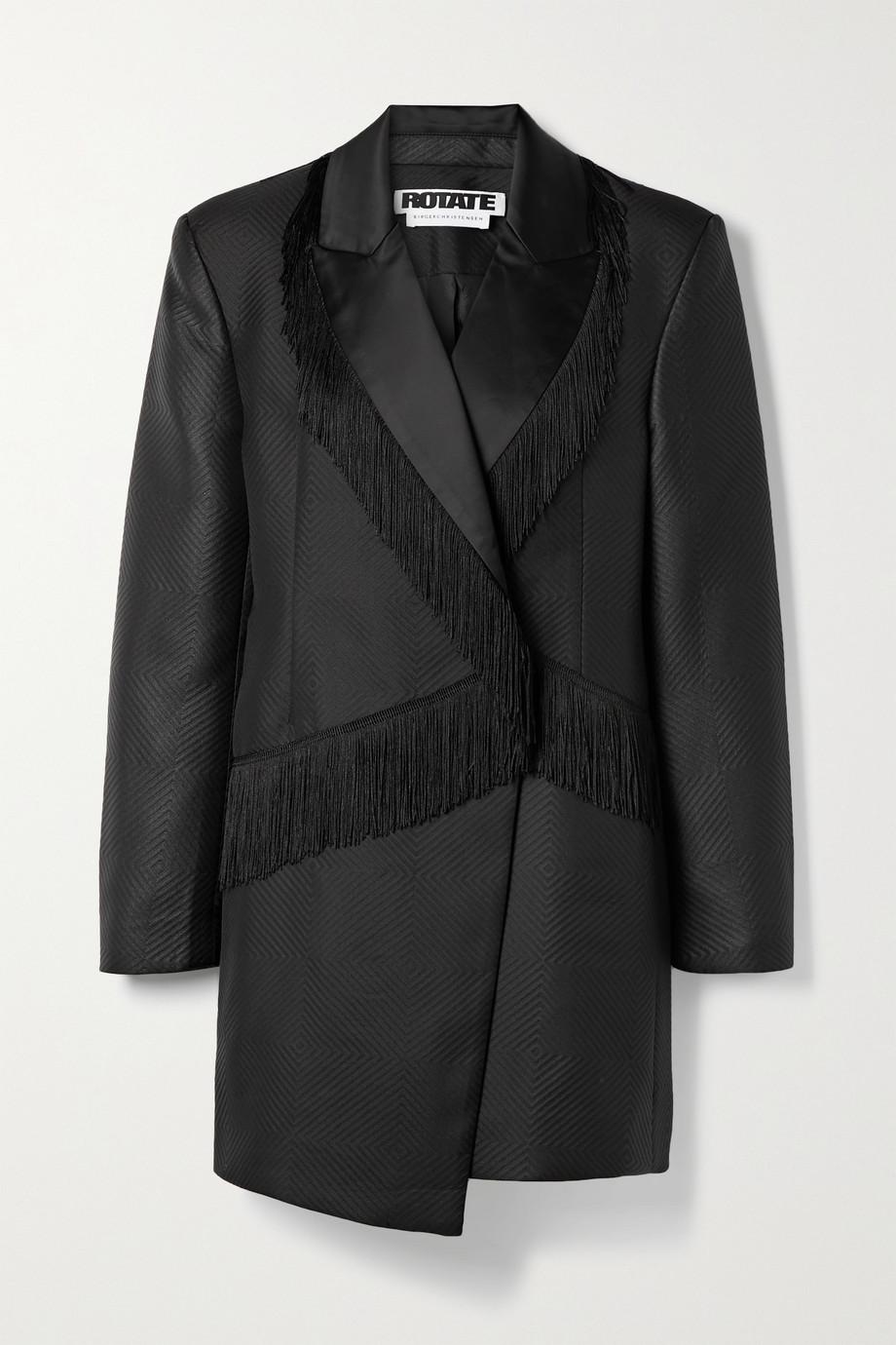 ROTATE Birger Christensen Shannon asymmetric fringed matelassé satin mini dress
