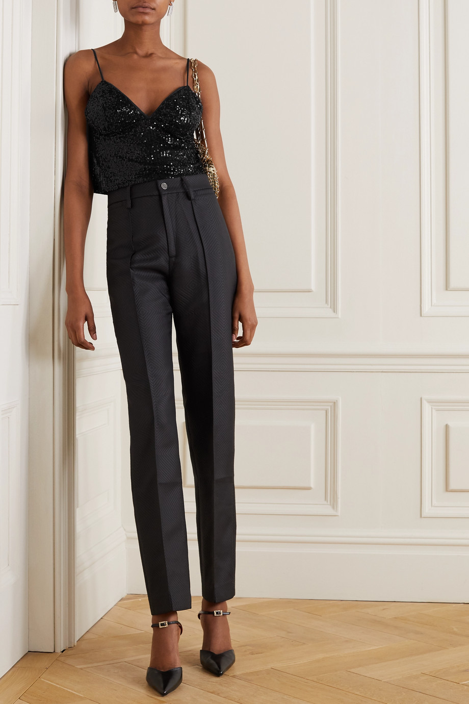 ROTATE Birger Christensen Cyndy cropped sequined tulle camisole