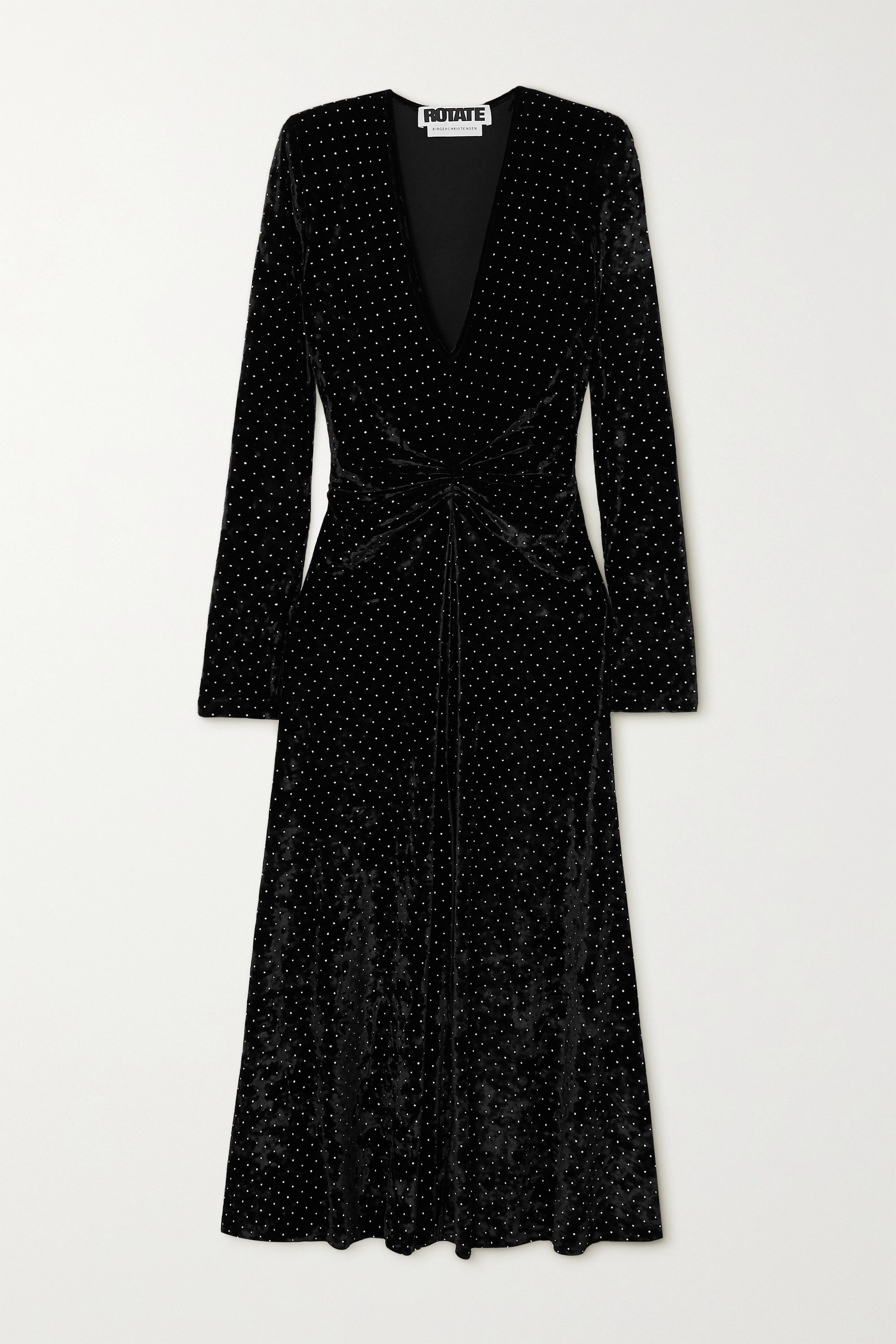 ROTATE Birger Christensen Lily gathered studded stretch-velvet midi dress