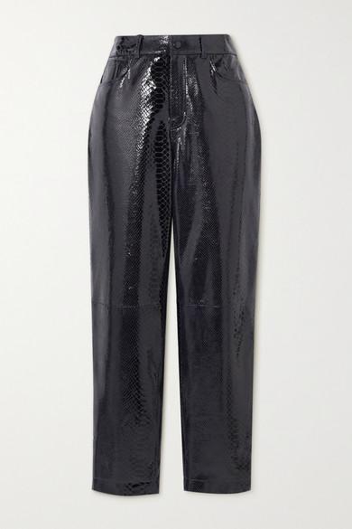 Remain Birger Christensen Elsa Cropped Snake-effect Patent-leather Straight-leg Pants In Black