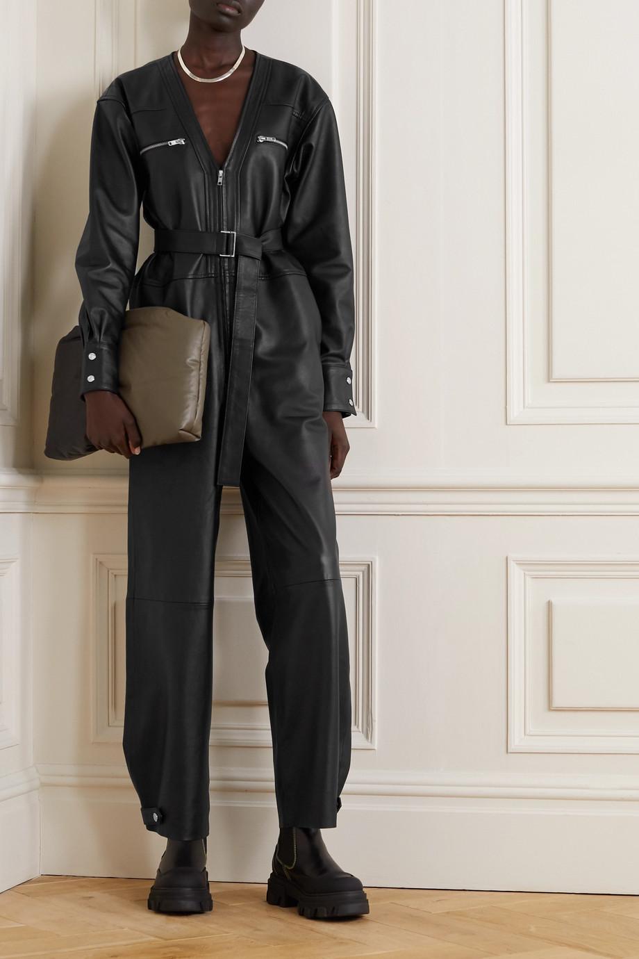 REMAIN Birger Christensen Suzanne 配腰带皮革连身裤