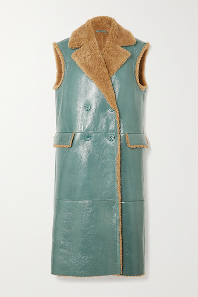Remain Birger Christensen Connie Double-breasted Shearling-trimmed Patent-leather Vest In Blue