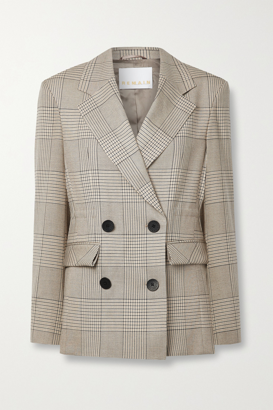 REMAIN Birger Christensen Daisy double-breasted Prince of Wales checked woven blazer