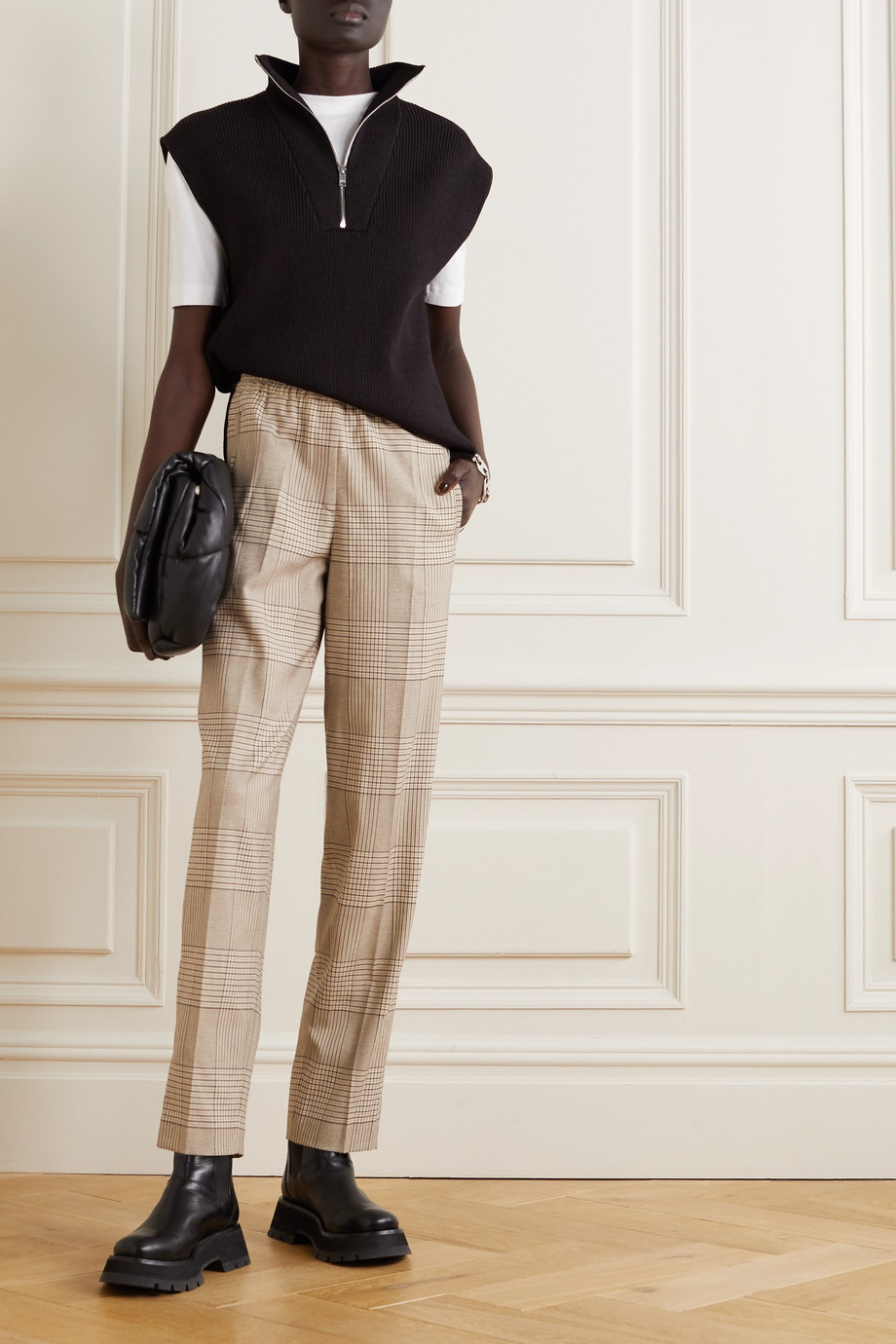 REMAIN Birger Christensen Meg Prince of Wales checked woven tapered pants