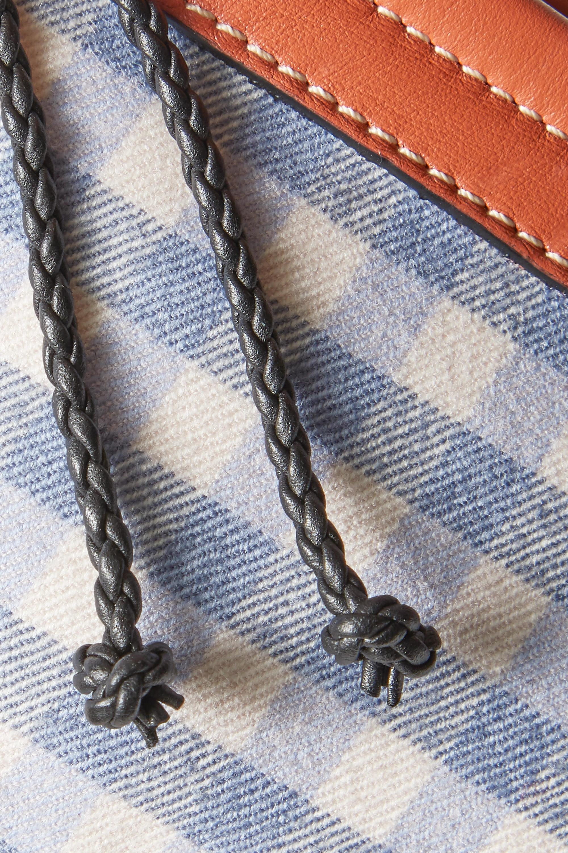 Altuzarra Espadrille mini Schultertasche aus Twill mit Gingham-Karo und Leder mit Besätzen aus Jute