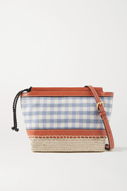 Altuzarra Espadrille mini leather and jute-trimmed gingham twill shoulder bag