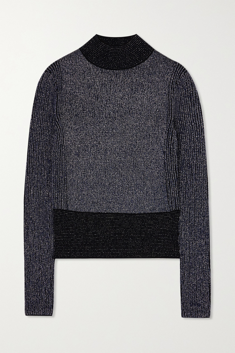 Victoria, Victoria Beckham Ribbed metallic wool-blend sweater