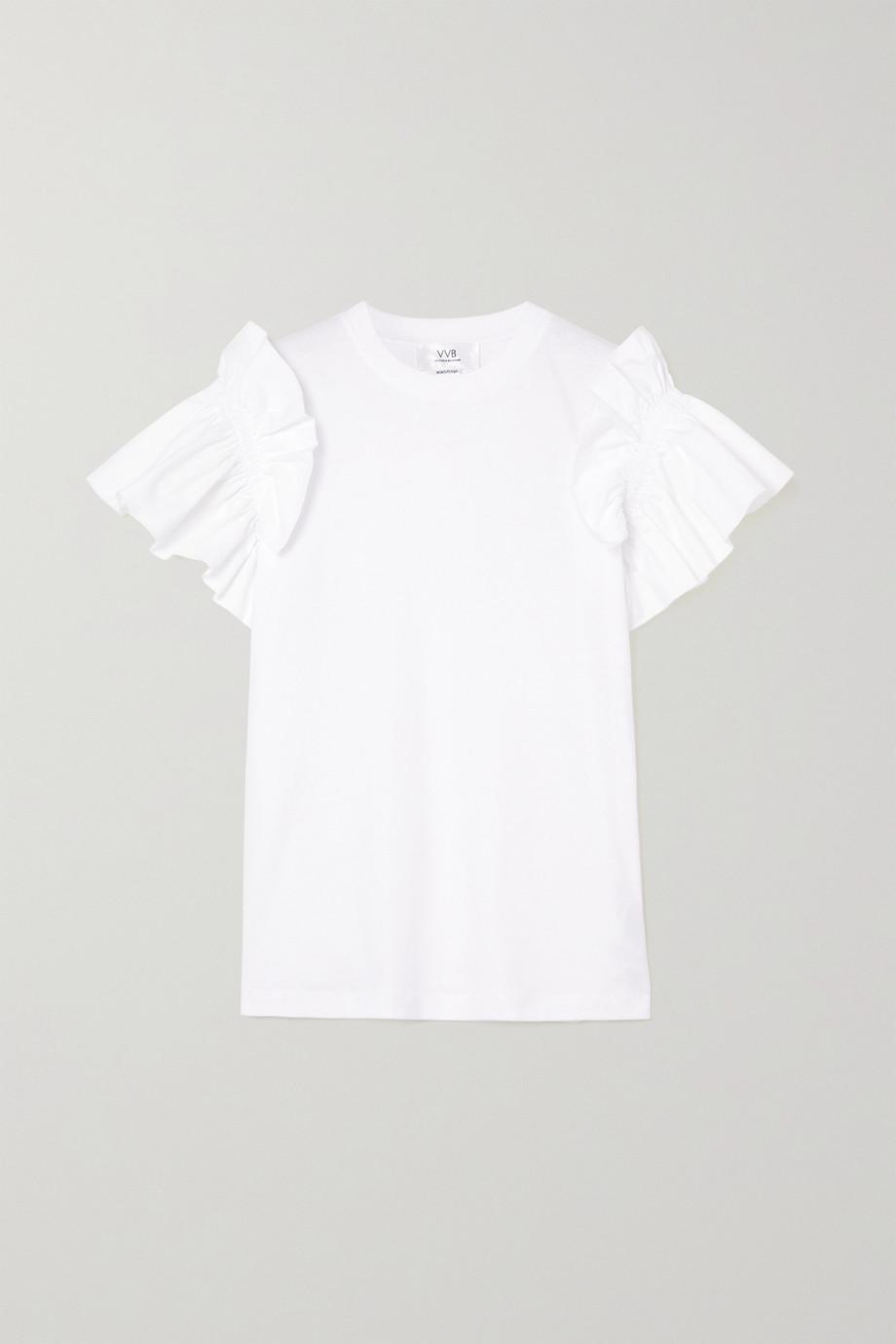 Victoria, Victoria Beckham Ruffled organic cotton-jersey T-shirt