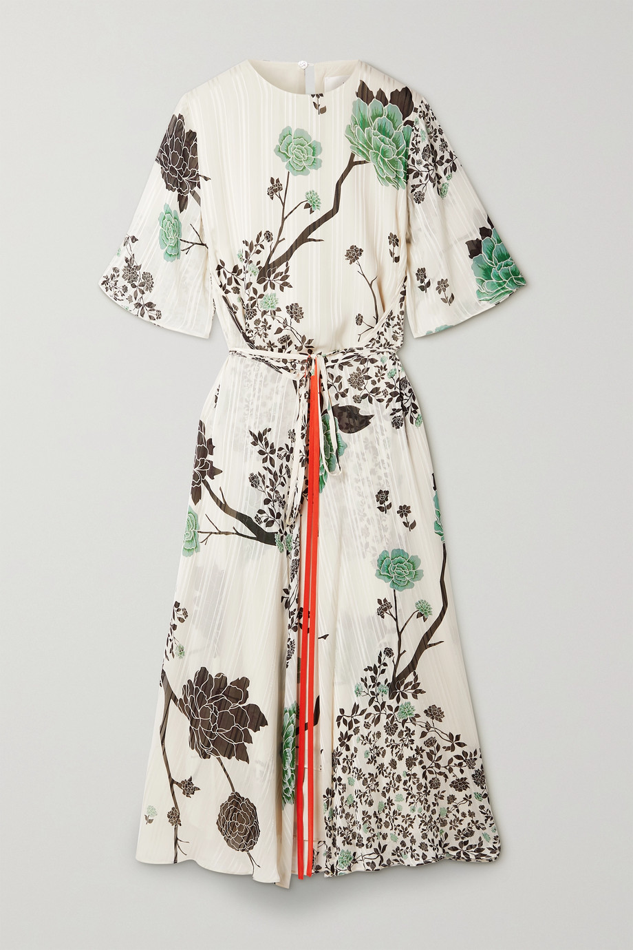 Victoria, Victoria Beckham Belted floral-print crepon midi dress