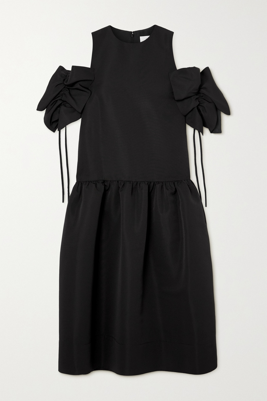 Victoria, Victoria Beckham Gathered cold-shoulder faille midi dress