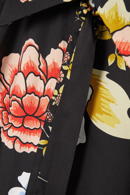 Victoria, Victoria Beckham Pussy-bow floral-print twill shirt