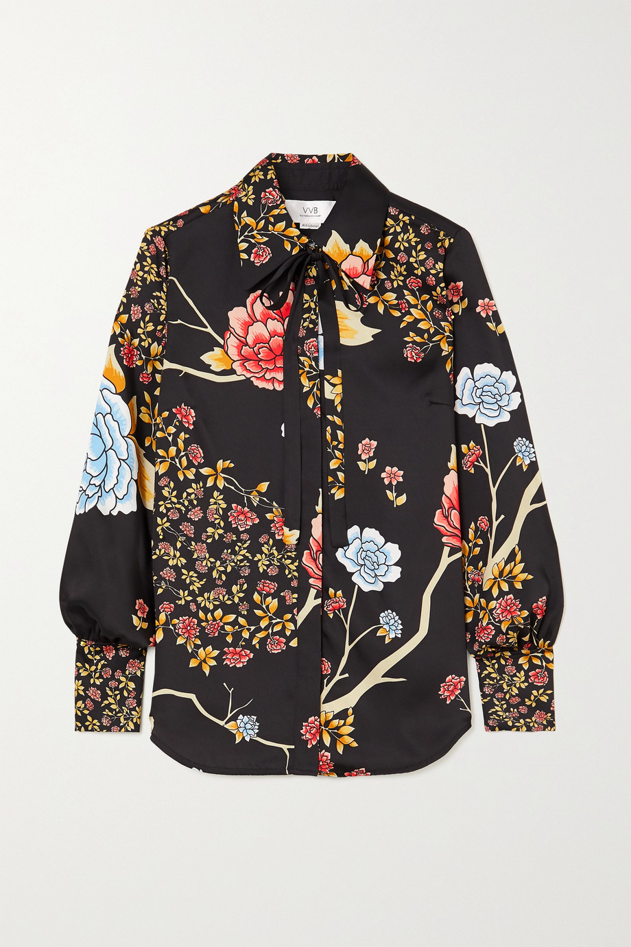 Victoria, Victoria Beckham Pussy-bow floral-print twill shirt