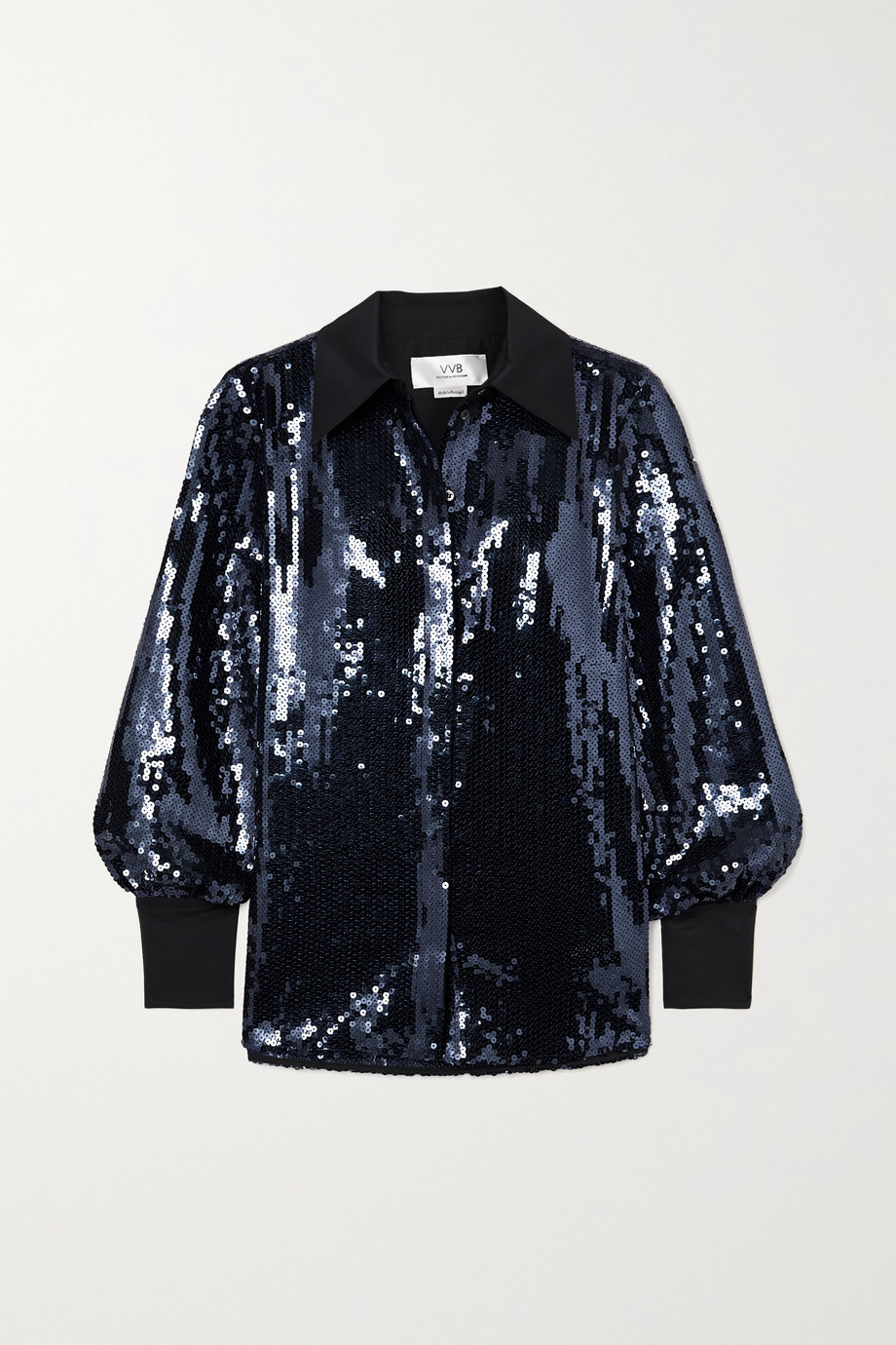 Victoria, Victoria Beckham Satin-trimmed sequined tulle shirt