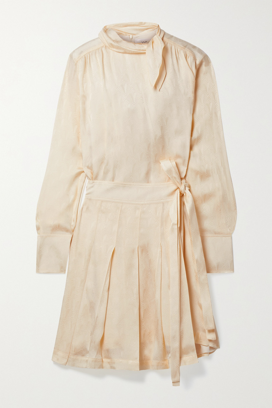 Victoria, Victoria Beckham Wrap-effect pleated satin-jacquard mini dress