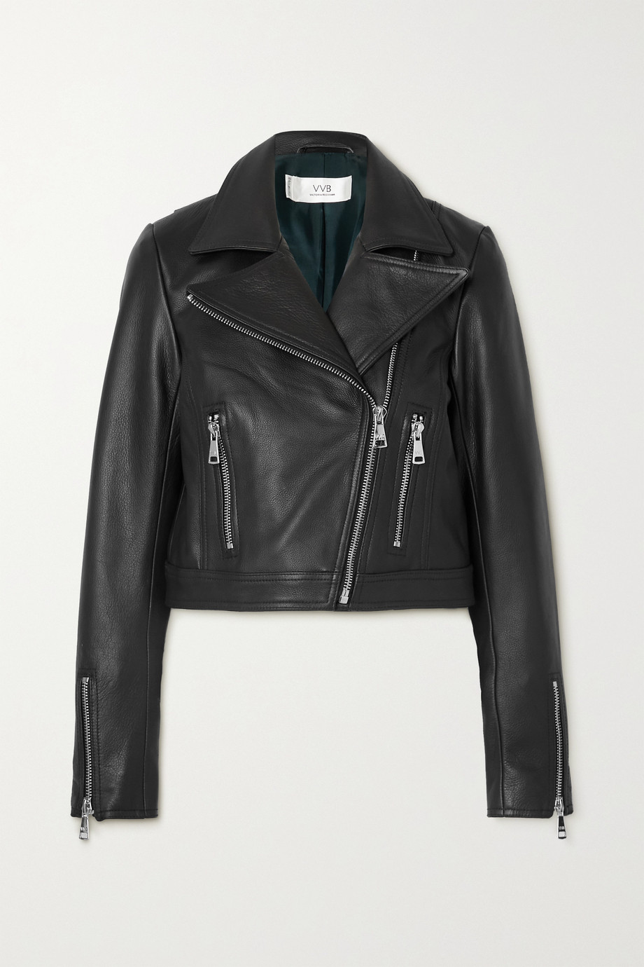 Victoria, Victoria Beckham Cropped textured-leather biker jacket