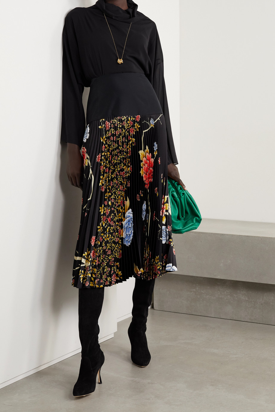 Victoria, Victoria Beckham Pleated floral-print satin-twill midi skirt