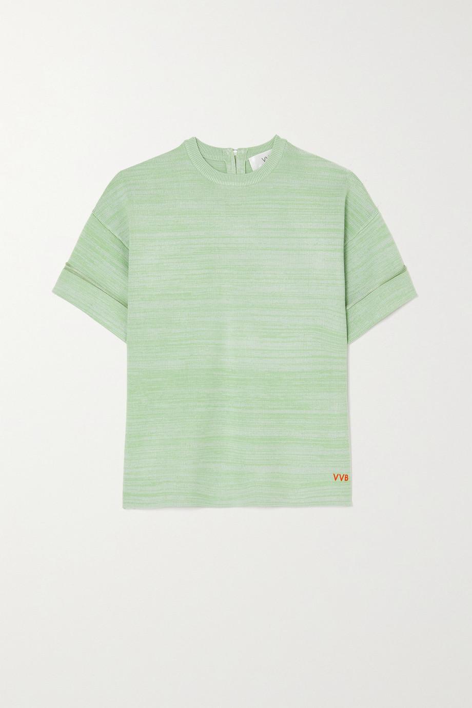 Victoria, Victoria Beckham Mélange ribbed-knit T-shirt