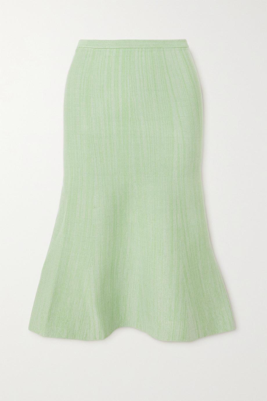 Victoria, Victoria Beckham Fluted mélange ribbed-knit skirt