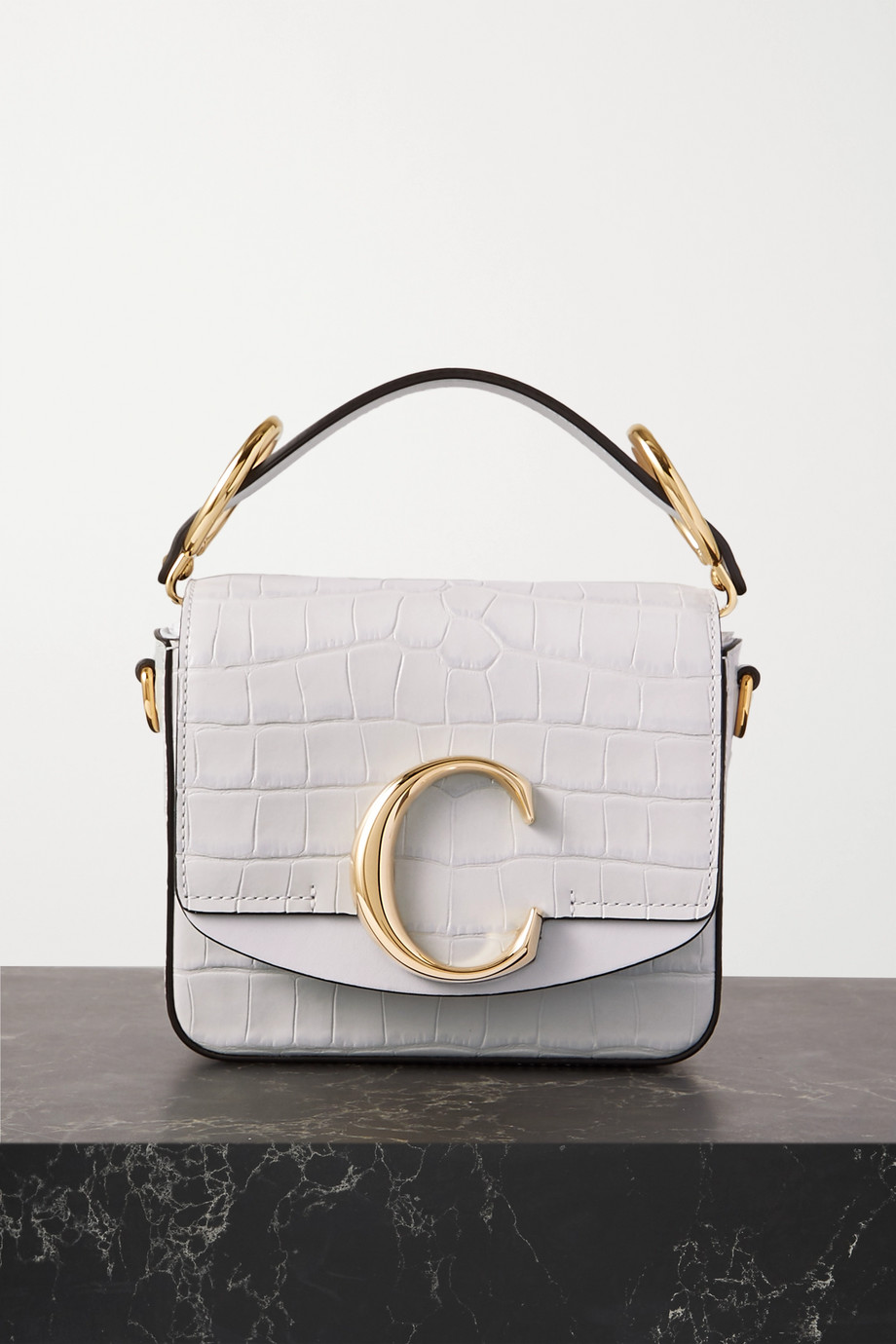 Chloé C mini croc-effect leather shoulder bag