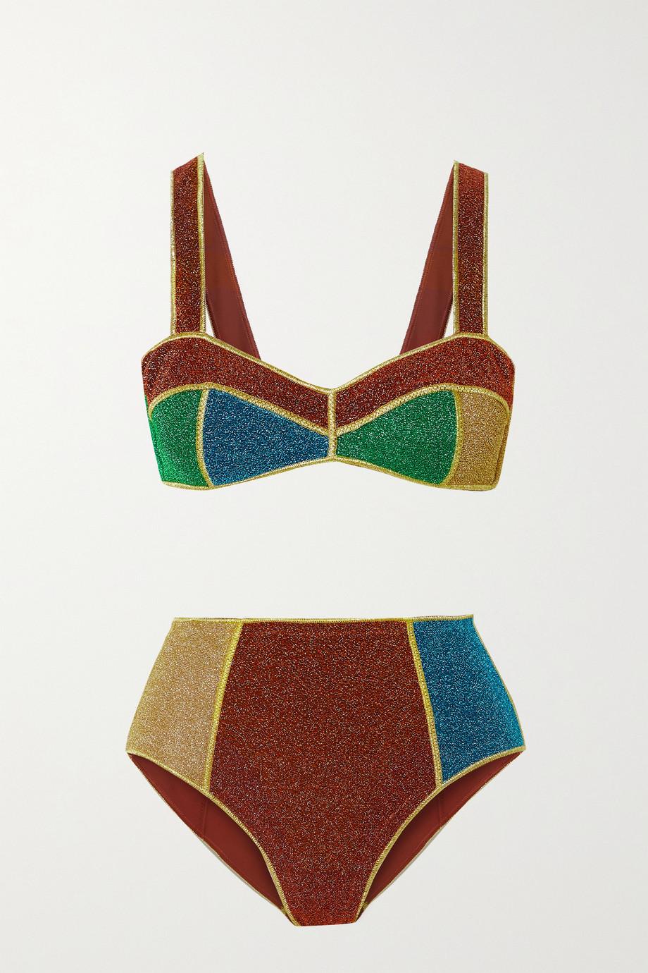 Oséree Color-block stretch-Lurex bikini