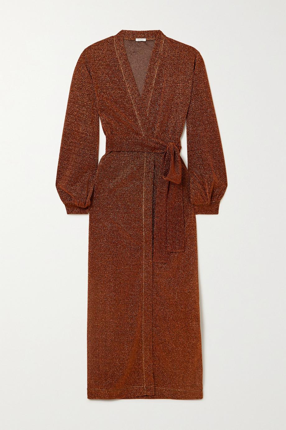 Oséree Lumière belted stretch-Lurex robe