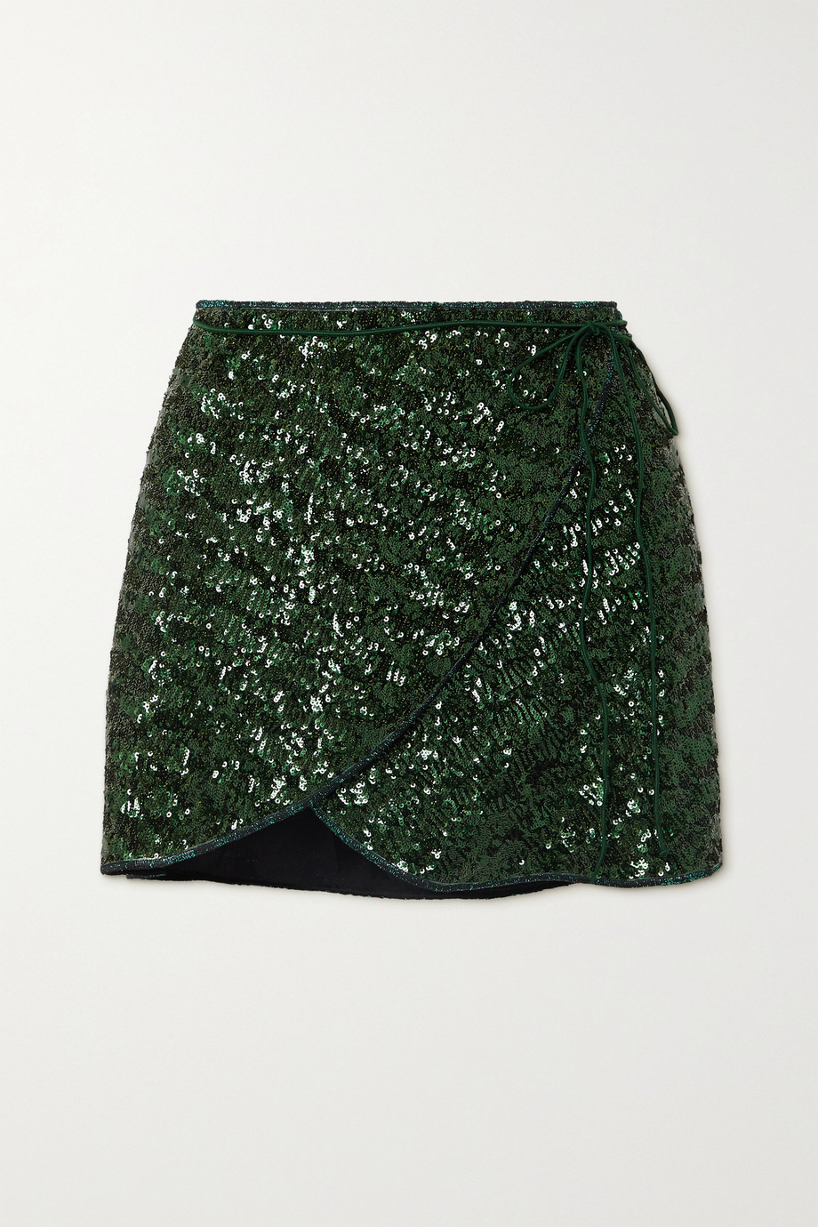 Oséree Sequined crepe wrap mini skirt