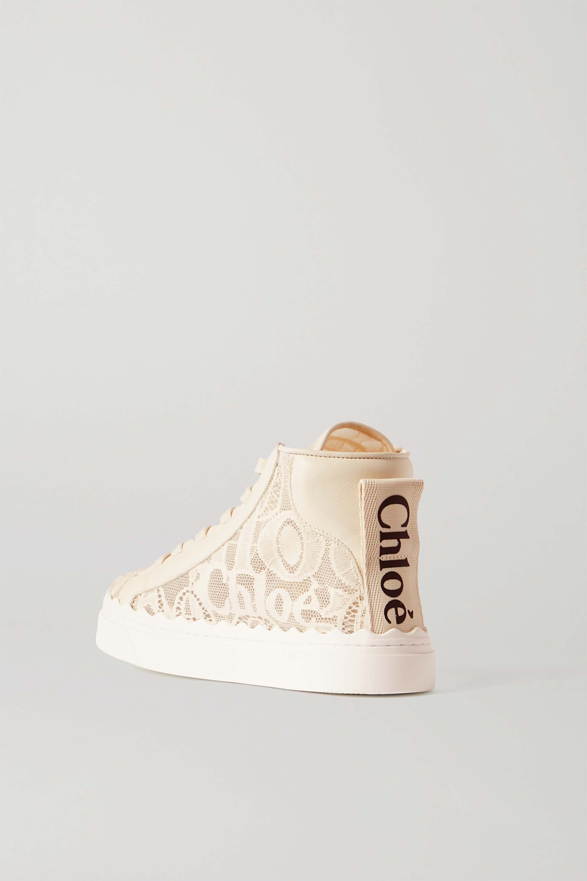 Chloé Lauren scalloped leather-trimmed lace high-top sneakers